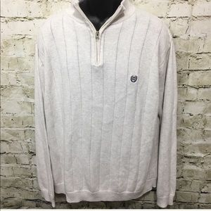 Chaps Cream Cotton Ribbed 1/2 Zip Pullover Sweater